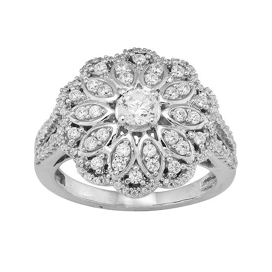 1 ct tw diamond 10k white gold flower ring jcpenney tw diamond 10k white gold flower ring mightylinksfo