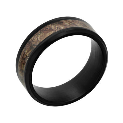 Mens Black Ceramic and Camo Inlay 8mm Comfort Fit Wedding Band
