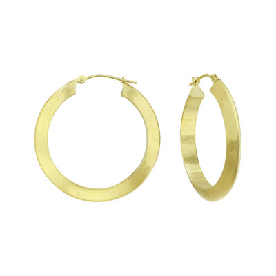 14K Yellow Gold 30mm Round Hoop Earrings