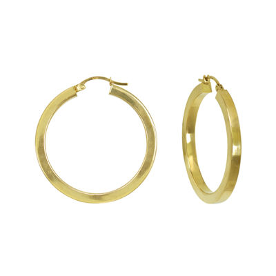 14K Yellow Gold 35mm Square Tube Hoop Earrings