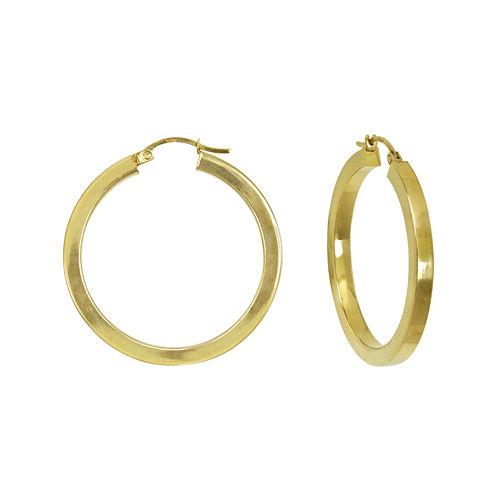 14K Yellow Gold 35mm Square Tube Hoop Earrings