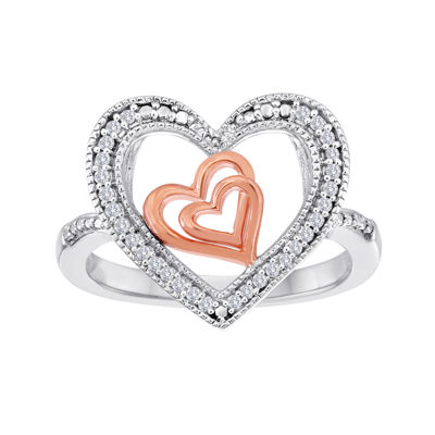 ForeverMine® 1/10 CT. T.W. Diamond Two-Tone Triple-Heart Ring