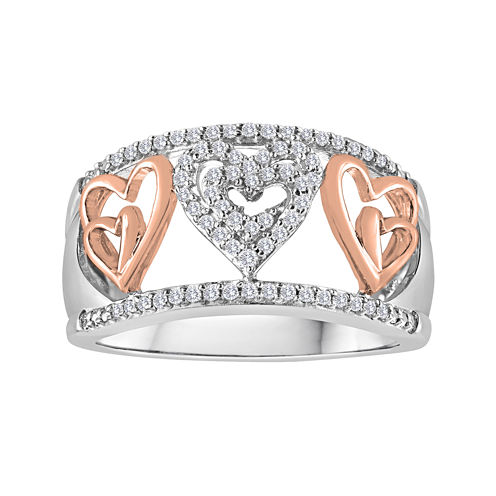 ForeverMine® 1/5 CT. T.W. Diamond Two-Tone Heart Ring