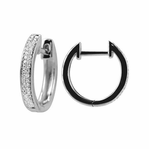 1/7 CT. T.W. White Diamond Sterling Silver Hoop Earrings