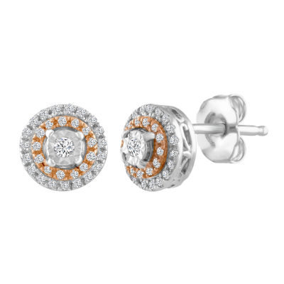 1/5 CT. T.W. Round White Diamond Sterling Silver Gold Over Silver Stud Earrings