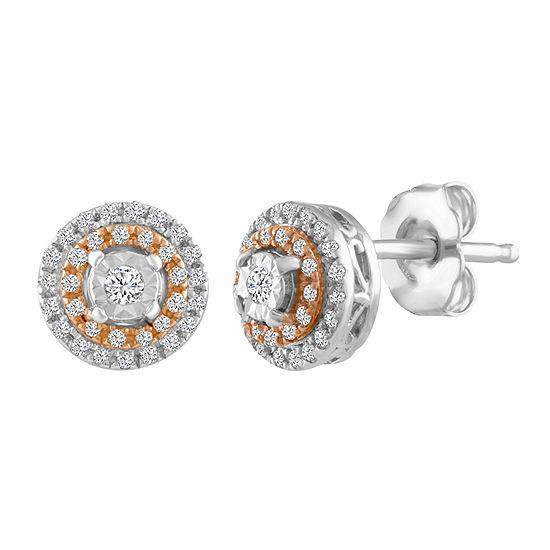 1/5 CT. T.W. Genuine White Diamond Sterling Silver 7.4mm Stud Earrings