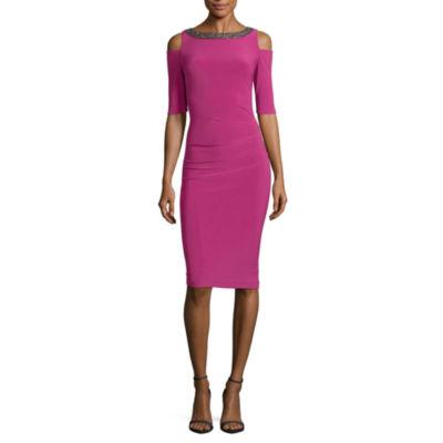 Scarlett Elbow Sleeve Sheath Dress-Talls