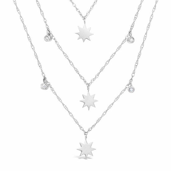 Womens 1/10 CT. T.W. White Diamond Sterling Silver Star Strand Necklace