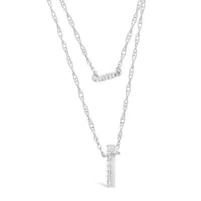 Womens 1/10 CT. T.W. White Diamond Sterling Silver Strand Necklace