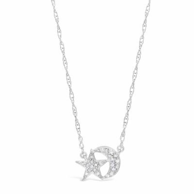 Womens 1/10 CT. T.W. White Diamond Sterling Silver Star Pendant Necklace