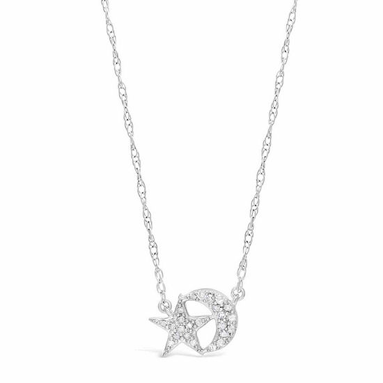 Womens 1 10 Ct Tw White Diamond Sterling Silver Star Pendant Necklace