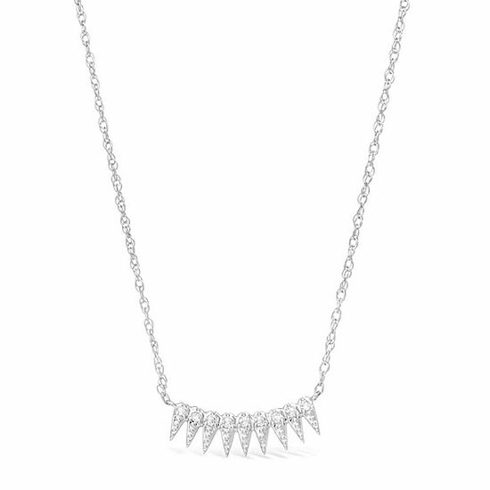 Womens 1 10 Ct Tw White Diamond Sterling Silver Pendant Necklace