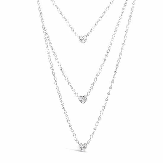 Womens 1/10 CT. T.W. White Diamond Sterling Silver Heart Strand Necklace