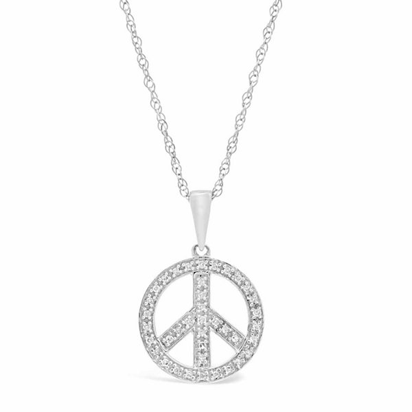Womens 1/8 CT. T.W. White Diamond Sterling Silver Pendant Necklace