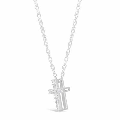 Womens 1/10 CT. T.W. White Diamond Sterling Silver Cross Pendant Necklace