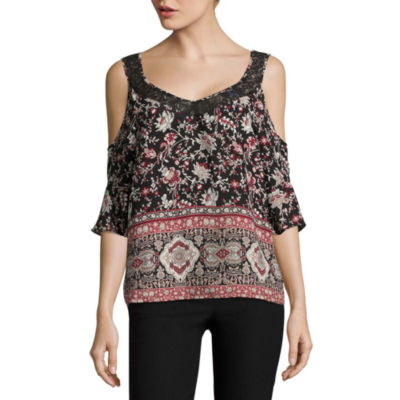 by&by Cold Shoulder, Round Neck Dobby Bordered Blouse-Juniors
