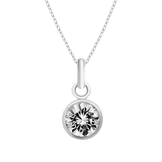 Itsy Bitsy Crystal Sterling Silver 18 Inch Cable Pendant Necklace