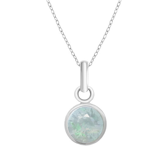 Itsy Bitsy White Opal Sterling Silver 18 Inch Cable Pendant Necklace
