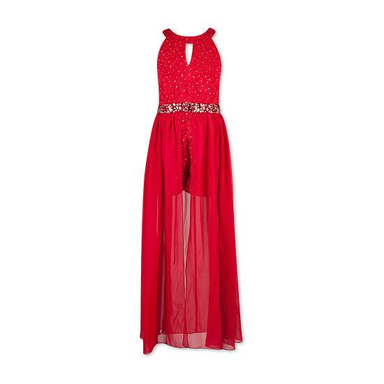 Speechless Embellished Sleeveless Romper Dress - Big Kid Girls