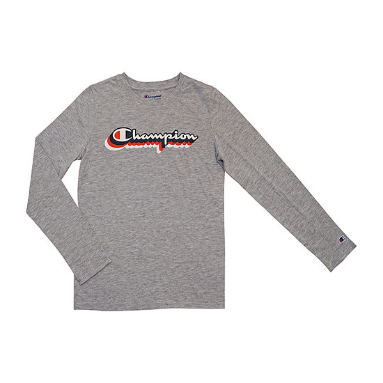 Champion Big Girls Crew Neck Long Sleeve Graphic T-Shirt
