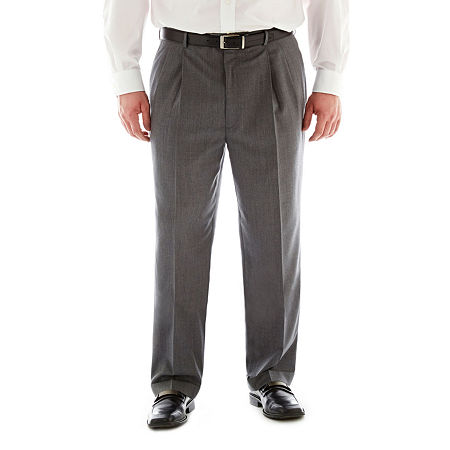 1950s Men's Pants, Trousers, Shorts | Rockabilly Jeans, Greaser Styles Stafford Executive Super 100 Wool Pleated Suit Pants - Big  Tall 50 32 Gray $74.99 AT vintagedancer.com