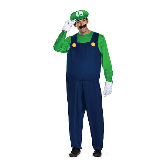 Super Mario Luigi Deluxe Adult 5-pc. Dress Up Costume Mens