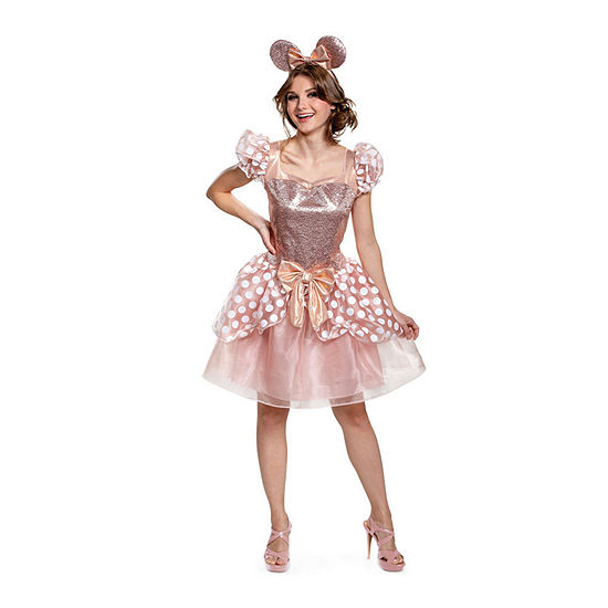 Disney Rose Gold Deluxe Adult 2-pc. Minnie Mouse Dress Up Costume Womens