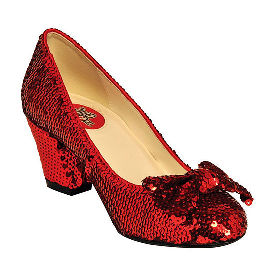 """Women'S 2 1/2"""" Red Sequin Pump With Bow"""""""