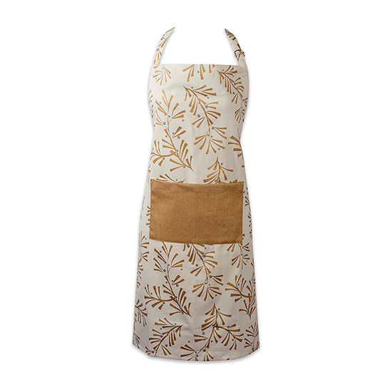 Design Imports Metallic Holly Leaves Chef Apron