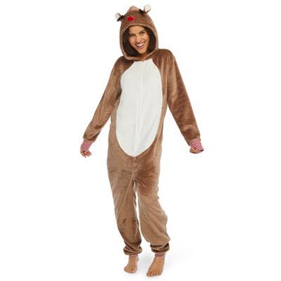 North Pole Trading Co. Reindeer Family Unisex Fleece One Piece Pajama Long Sleeve Hooded Neck