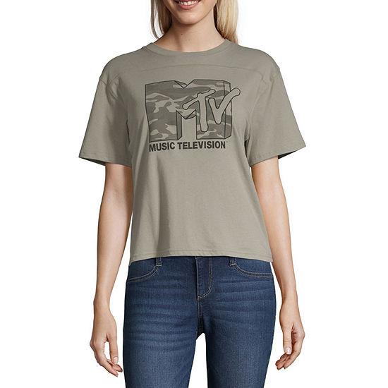 Womens Crew Neck Short Sleeve Graphic T-Shirt-Juniors