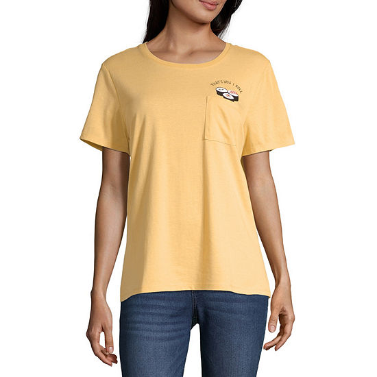 Cut And Paste Juniors-Womens Crew Neck Short Sleeve T-Shirt
