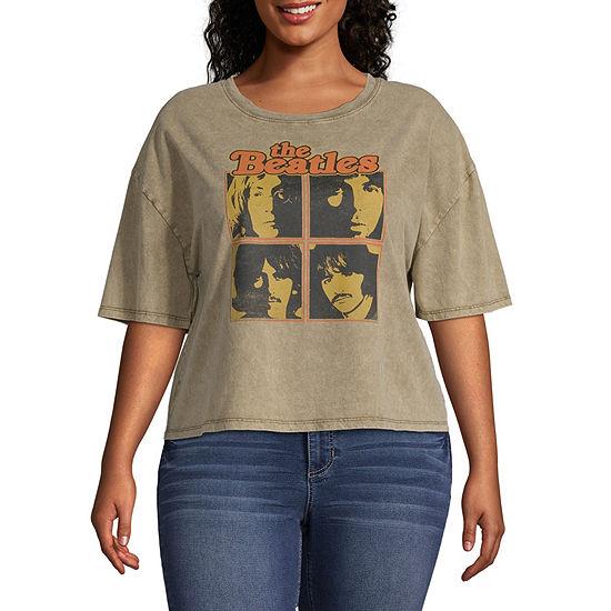 Juniors Plus Womens Crew Neck Short Sleeve Graphic T-Shirt