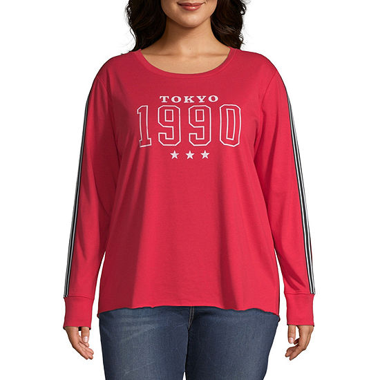 Cut And Paste-Womens Crew Neck Long Sleeve T-Shirt Juniors Plus