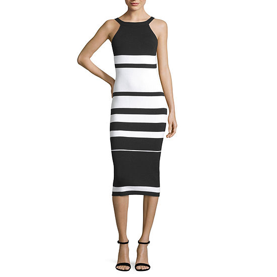 Say What Sleeveless Striped Bodycon Dress-Juniors