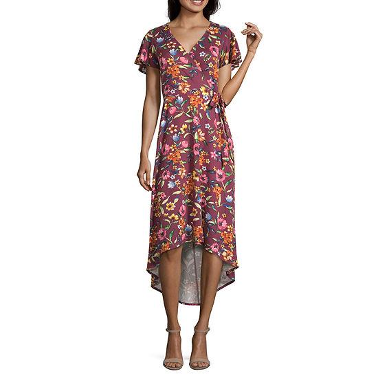 Byer California-Juniors Short Sleeve Floral Wrap Dress