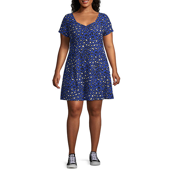 Arizona Short Sleeve Skater Dress-Juniors Plus