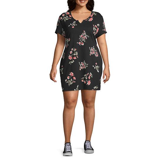 Arizona Not Applicable Short Sleeve Floral Bodycon Dress-Juniors Plus