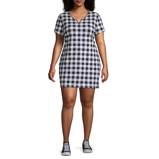 Arizona Short Sleeve Checked Bodycon Dress-Juniors Plus