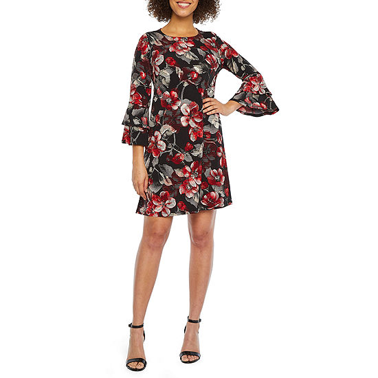 R & K Originals 3/4 Tiered Bell Sleeve Floral Puff Print Shift Dress