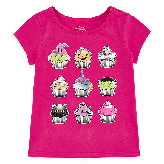 City Streets Halloween Girls Crew Neck Short Sleeve Graphic T-Shirt-Toddler