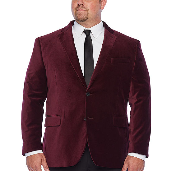 JF J.Ferrar Velvet Mens Classic Fit Velvet Sport Coat- Big and Tall