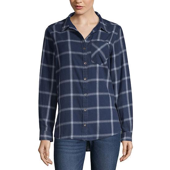Vanilla Star Womens Long Sleeve Button-Front Shirt-Juniors