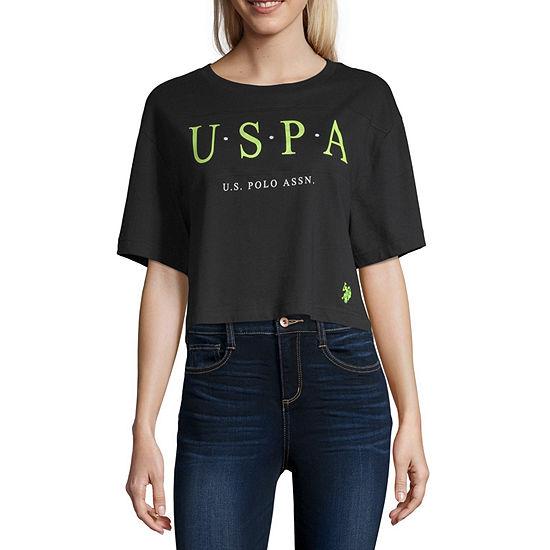 Us Polo Assn. Womens Crew Neck Short Sleeve Crop Top-Juniors