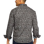 Society Of Threads Untucked Performance Stretch Mens Long Sleeve Moisture Wicking Medallion Button-Front Shirt