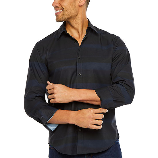 Society Of Threads Untucked Performance Stretch Mens Long Sleeve Moisture Wicking Striped Button-Front Shirt