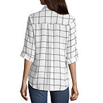 by&by-Juniors Womens 3/4 Sleeve Button-Front Shirt