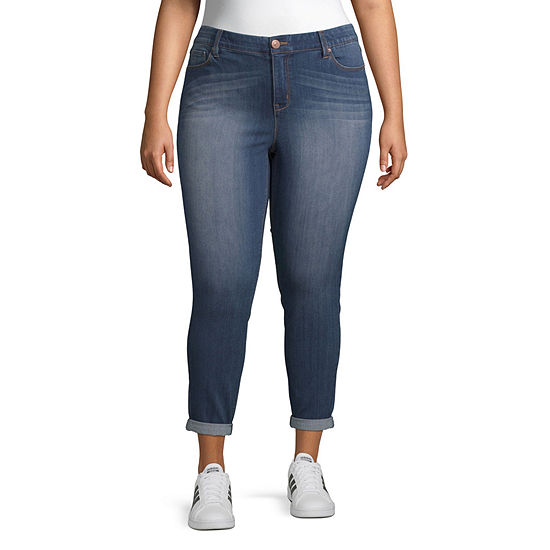Almost Famous Womens Mid Rise Ankle Regular Fit Jean - Juniors Plus