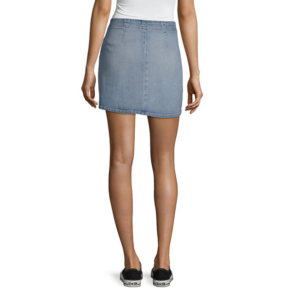 Rewash Womens Mid Rise Short Denim Skirt- Juniors