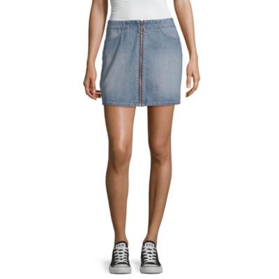 Rewash Womens Mid Rise Short Denim Skirt-Juniors